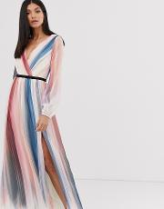Ombre Stripe Long Sleeve Printed Wrap Dress