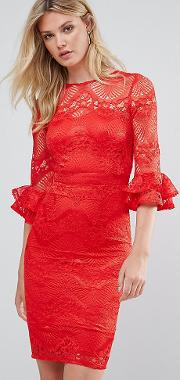 Over Lace Pencil Dress With Fluted Sleeve Detail