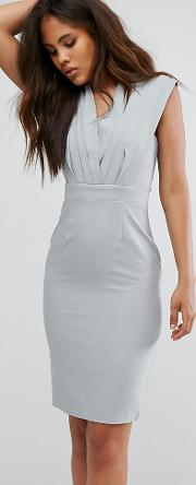 Pencil Midi Dress With Pleated Detail