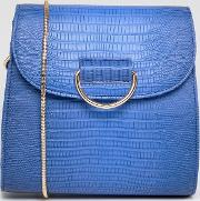 blue snake print across body bag with gold buckle detail