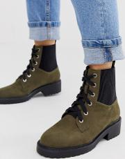 Lace Up Flat Chunky Boots