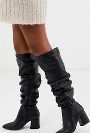Wide Fit Pointed Block Heel Knee Boots