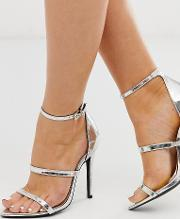 Wide Fit Pointed Strappy Stiletto Heeled Sandals Silver