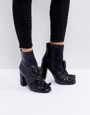 black bow heeled ankle boots