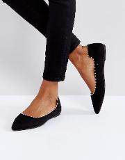 Black Flat Pearl Effect  Shoes