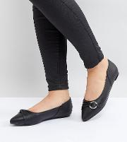black loop detail flat shoes