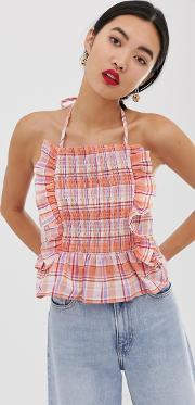 Cami Top With Shirring Woven Check