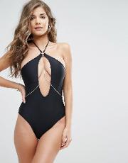 chain cut out swimsuit
