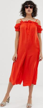 Cold Shoulder Jumpsuit With Button Front And Frill Trim