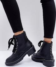 dax black studded flat ankle boots