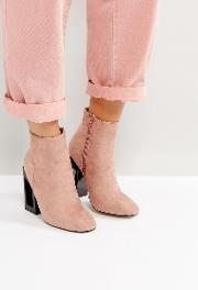 debbie pink heeled ankle boots
