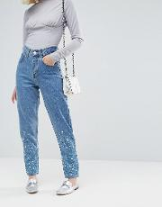 embellished mom jeans