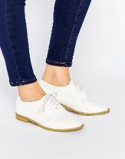 hannah white lace up flat shoes