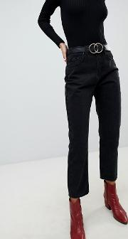 high waist jeans in straight leg fit
