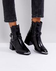 Jodphur Black Tipped Heeled Ankle Boots