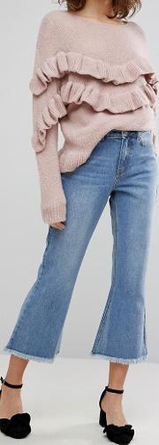 kick flare jeans with raw hems