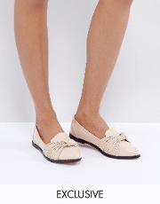 nude twist detail flat shoes