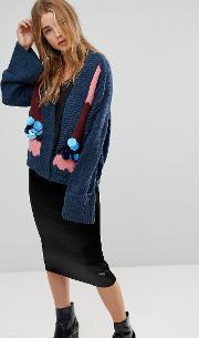 Oversized Cardigan With Abstract Design And Sequin Embellishment