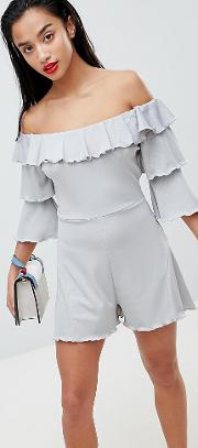 Frill Front Playsuit With Tiered Sleeves