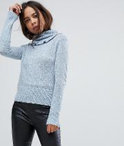 High Neck Jumper With Frill Collar