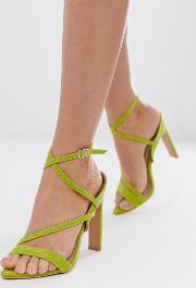 Pointed Strappy Heeled Sandals Lime