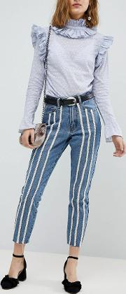 raw hem slim mom jeans with pearl trims