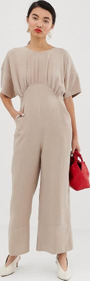 Relaxed Minimal Jumpsuit With Kimono Sleeves