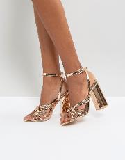 Rose Gold Block Heeled Strappy Sandals