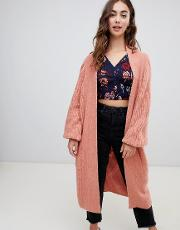 slouchy longline cardigan  cable knit