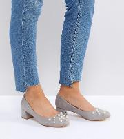 Anna Pearl Detail Mid Heeled Shoes