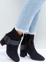black buckle detail heeled ankle boots