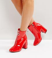 Red Vinyl Zip Front Ankle Boots