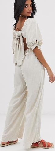 Wide Leg Jumpsuit With Puff Sleeves Linen