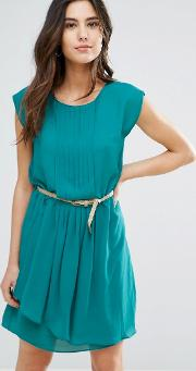 shari belted pleat front dress