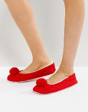 Cable Pom  Ballerina Slippers