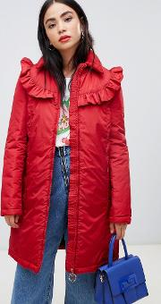 Frill Quilted Coat With Branded Circle Zip Puller