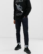 Skinny Jeans With Leather Label