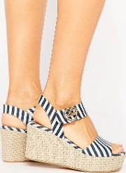 Stripe Wedge Sandals