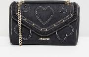 suede heart shoulder bag with chain