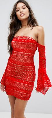 allover bandeau mini dress with fluted sleeve detail