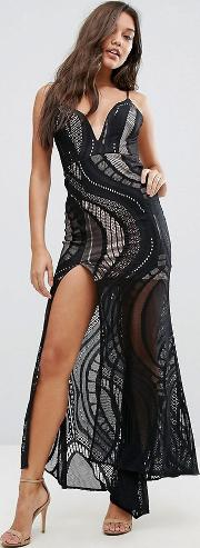 allover lace maxi dress with deep thigh split