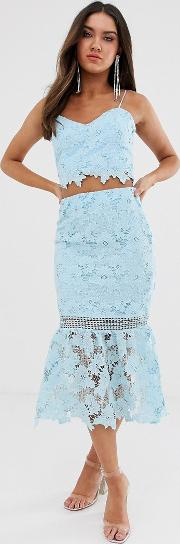 Cutwork Lace Pencil Skirt Co