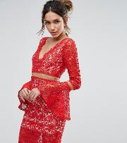Lace Midi Dress With Flared Sleeves