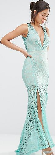Lace Plunge Front Maxi Dress With Ladder