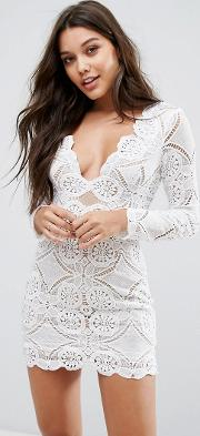 Neck Mini Dress  All Over Lace