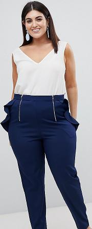 cigarette trouser with frill pocket detail