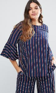 Co Ord Striped Fluted Sleeve Woven Top