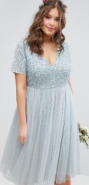 Cap Sleeve  Neck Midi Dress With Delicate Sequin And Tulle Skirt