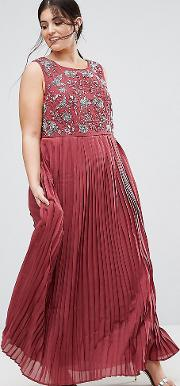 Hand Embellished Pleated Maxi Dress