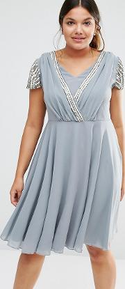 Short Sleeve Midi Dress With Embellished Sleeves And Wrap Front Detail